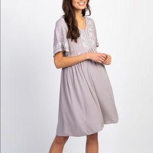 Grey Embroidered Peplum Maternity Dress